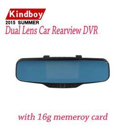 """Cámaras de lentes de porcelana en venta-Dual coche de la lente del dvr retrovisor DVR Espejo cámara HD 720P 30FPS 12.0mp CMOS 4.3 """"LCD 170 grados Ángulo de visión"""