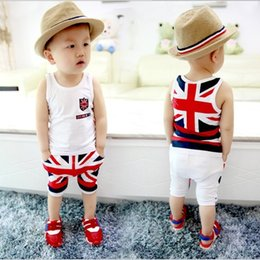 Wholesale 2015 New European and American Style British Flag Printing Boys Summer Suit Personality