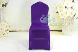 Wholesale Cheapest Price Purple Color For Wedding Lycra Spandex Chair Cover Hot Sale Universal Banquet Poly Chair Cover
