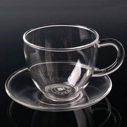 Wholesale 2016 New ml Transparent Drinkware Glass Tea Cup With Saucer For Home Kitchen Drinking Teacup