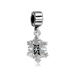 China manufacturer Christmas snowflake Dangle Spacer metal slide bead European charm fit Pandora Chamilia Biagi charm bracelet