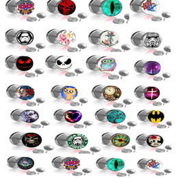 Mix 25 Logo Stainless Steel Ear Piercing Plug Fake Plugs Ear Expender Tunnels Tragus Body Jewelry 50pcs lot