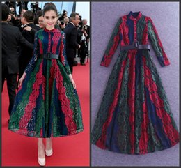 2016 Fashion Colorful Lace Celebrity Dress Real Image In Store High Neck A line Formal Evening Dress Mid Calf Long Sleeve Long Prom Dress