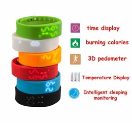 Wholesale 2015 Rushed Step W2 Smart Band Watch Slim Bracelet Wristband Fitness Tracker d Pedometer Sleep Monitor Thermometer Fuelband Time Display