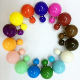 Wholesale XMAS gift COLORS Double Side Shining Pearl Stud Earrings Big ball Hot Sale Earrings Lovely candy colour gift