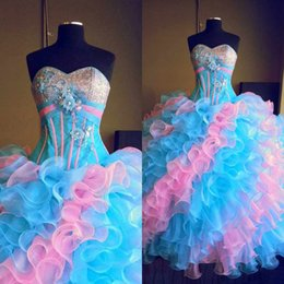 Wholesale Multi color Pink and Blue Quinceanera Dresses Strapless Sweetheart Sequins Crystal Organza Floor Length Sweet Young Girls Ball Gowns