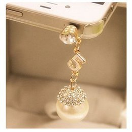 Wholesale South Korean version of the new fashion elegant full diamond pearl dust plug phone dust plug pearl TSF175