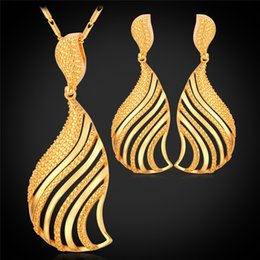 U7 Dubai Gold Plated Jewelry Set 2016 Fashion Jewelry 18K Real Gold Platinum Plated Hollow Fan-Shaped Earrings Necklace Set For Women