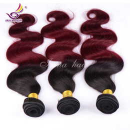 Peruvian Virgin Hair Body Wave 3pcs  lot 7A Real 100% Unprocessed Remy Human Hair Extensions Weaves 12-26inch 1B Burgundy Ombre Hair Wefts