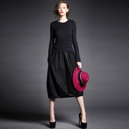 Wholesale Best Casual Dresses For Ladies Round Neck Long Sleeve A line Dress Panelled Cheap Womens Clothing Sale Online A014
