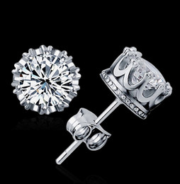 Top Quality 925 Silver Crown stud earrings Fashion CZ Diamond 18K Real Gold Plated Stud Earrings Jewelry Crystal 2 Colors Free Shipping