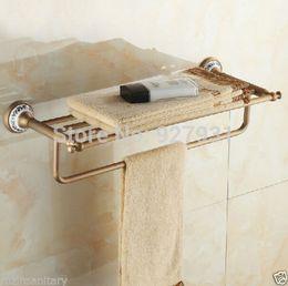 Wholesale And Retail Bathroom Linen Shelf Towel Rack Antique Brass Bath Organizer Storage