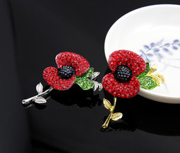 Wholesale Celebrity Princess Kate style Poppy Flower Brooches Pins UK Remebrance Day Brooch Accessory Fashion Red Crystal Brooches Pins for Women W4