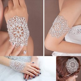 Wholesale Crystal Arm Accessories - Cheap multipurpose Bridal Jewelry Accessories Shoulder Chains Crystal Beaded Rhinestone Wedding Arm Chains And Hand Bracelets