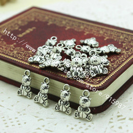 Wholesale 50pcs Antique Silver Lovely Teddy Bear Pendant Charms Jewellery Findings mm Fit Vintage Metal Jewelry Pendants D0158