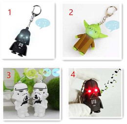 Wholesale 100pcs DHL Free Style LED Star Wars Darth Vader Keychains with Sound Light Lamp Flashlight Keychain YODA Black Star wars LED Keyrings