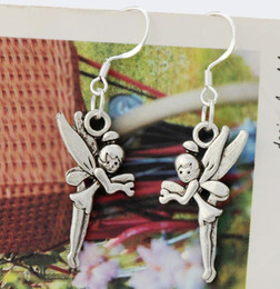 Wholesale Antique Silver Flying Tinker Bell Fairy Charm Earrings Silver Fish Ear Hook Chandelier E130 x42mm