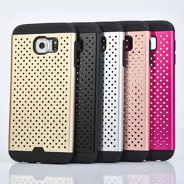 Wholesale For Iphone S Plus I5 S S Samsung Galaxy S6 G9200 Edge G925 Plus G9280 Note5 Hybrid Grid Mesh Net Metal Hard Case Aluminum Soft TPU