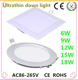 Wholesale 6W W W W W CREE LED Panel lights Recessed lamp Round Square Led lights for indoor lights tube light V Led Driver