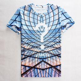 Wholesale Fashion clothing question mark printed plaid t shirt men s tops short sleeve casual t shirt for men women