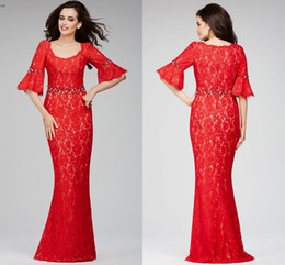 Wholesale Red Mermaid Cap Sleeve Pageant Dresses Sexy Lace Half Sleeve party dresses Modern Beaded dresses New Style Scoop Neck Long Prom Gowns