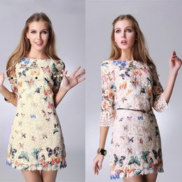 Wholesale High Street Fashion Women Butterfly Lace Dresses Casual Patterns Dress Half Sleeve Print Flower Dress Vestidos B11 CB033266 G0904
