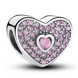 Sweet Heart Silver Charm with Fancy Pink Cubic Zirconia for Pandora Style Bracelets S213