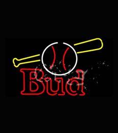Wholesale Budweiserr Bud Baseball and Bat Real Neon Sign for Bar Real Glass Tube Handcraft Store display Custom LOGO Design x20