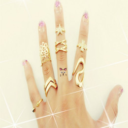 Fashion Korea Style Gold Plated Rivet Star Rhinestone Clover Lace Crystal Ring Tail Joints Jewelry Set