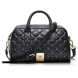 Wholesale Fashion high quality leather handbags kim Kardashian plaid rivet shoulder bag famous brand handbag women messenger bags work bag