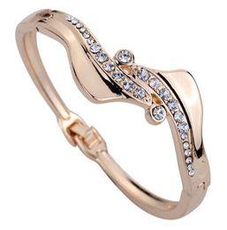 Wholesale Bracelets Hot S type design Mosaic Swarovski Elements Crystal Alloy plating Bracelet Bangle Charming Bride jewelry Charm bracelets
