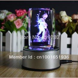 Wholesale Best Valentine Day gift D crystal Laser Engraving Aquarius color LED rotating light base crystal gift