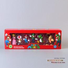 Wholesale Super Mario Toad Figure - Free Shipping Super Mario Bros Peach Toad Mario Luigi Yoshi Donkey Kong PVC Action Figure Toys Dolls 6pcs set New in Box SMFG218