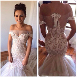 2015 Mermaid Wedding Dress Off Shoulder Appliques Covered Button Mermaid Chapel Train Bridal Dresses Dhyz 01