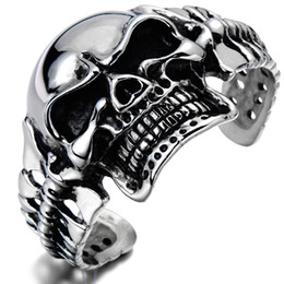 Large Skull Cuff Bracelet Cool Mens Bracelet Men Biker Skull Bangle Bracelet Men Biker Jewelry Men Gothic Jewelry