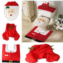 Wholesale 2015 Hot Fancy Santa Toilet Seat Cover and Rug Bathroom Set Contour Rug Christmas Decorations For Natal Navidad Decoration