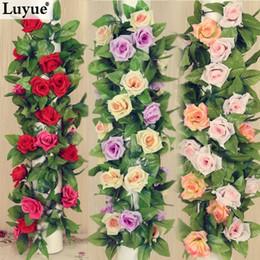 Wholesale Wedding decorations M Artificial Silk ROSE Fake FLOWER Ivy Leaf Garland Plants Home Wedding Decor FZH067