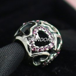 925 Sterling Silver Falling in Love Charm Bead with Pink Cz Fit European Pandora Style Jewelry Bracelets & Necklaces