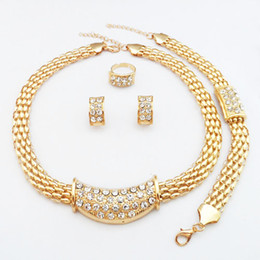 Wholesale 24K Real Gold Plated Austria Crystal Wedding Dress Luxury Africa Jewelry Sets Necklace Earrings Bracelet Ring
