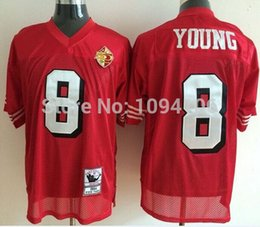 Wholesale Factory Outlet Steve Young Jersey Red White TH Patch Throwback Men s Authentic Stitched Football Jerseys