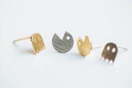 10Pair- S013 Gold Silver Pacman or Pac Man Stud Earrings Cute Ghosts Stud Earrings Game Fun Cartoon Earrings Stud for Girl