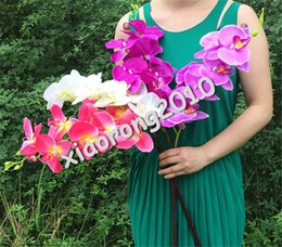 "Silk Orchid Flower 7 COLORS Phalaenopsis 105cm 41.34"" (8 Heads piece) Moth Orchids for Wedding Christmas Party Artificial Decorative Flowers"