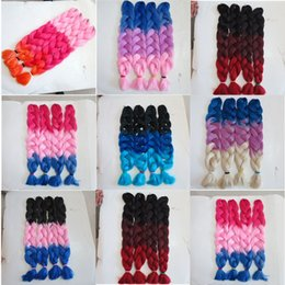 Kanekalon synthetic braiding Hair 82inch 165g Ombre three tone color xpression Jumbo Braid hair extension 7colors in stock