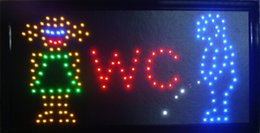 """Hot selling customerized Animated Led man and woman washroom sign board size 19x10"""" Led Neon WC sign"""