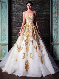 Wholesale Hot New Evening Dresses Rami Kadi Sweetheart Golden Appliques Beaded Crystal Accented White A Line Formal Prom Dresses New Fashion