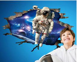 3D Astronaut Came Through Outer Space Wall Art Mural Decal Sticker Kids Boys Nursery Room Wallpaper Decoration Poster Cracked Astronaut Art