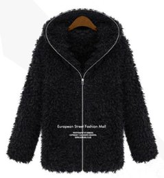 Wholesale-New Winter Women Fashion New Casual Hooded Warm Fluffy Shaggy Overcoat Coat Thick Hoodie Jacket Faux Fur Zipper Outwear