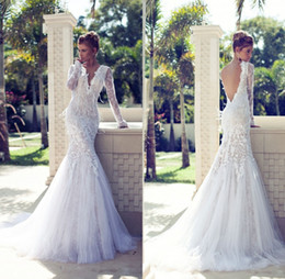 Wholesale Romantic White Backless Salomon Wedding Dress Full Sleeve Plunging Neckline Court Train Mermaid Wedding Dresses With Appliques Lace Feather