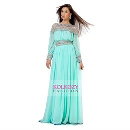 Wholesale Unique Aqua Blue Traditional Arabian Kaftan Evening Dresses Beading Luxury Long Sleeves Chiffon Prom Party Gowns Arabic Women s Formal Wear