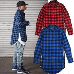 Red Blue Scottish Plaid Long Sleeve Flannel shirt Men  Dance Hiphop Bboy Shirt Golden Side Zipper  Oversize Plaid Lengthen Shirt Men